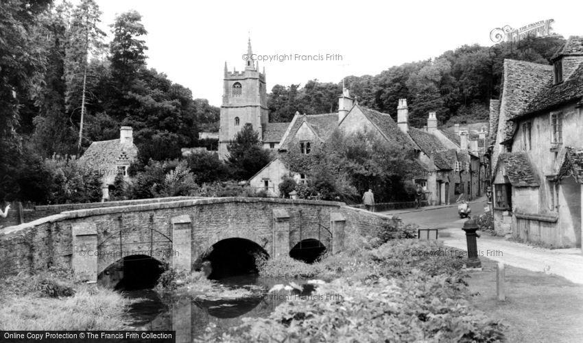 Castle Combe, Bridge and St Andrew's  Church c1955