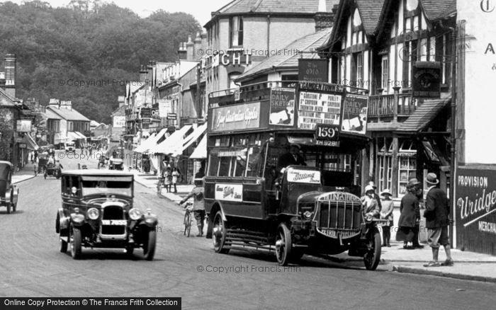 Photo of Caterham, Bus in Croydon Road 1925