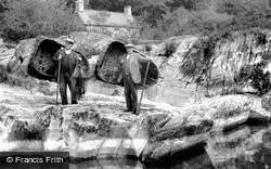 Cenarth, Coracle Fishermen c.1955