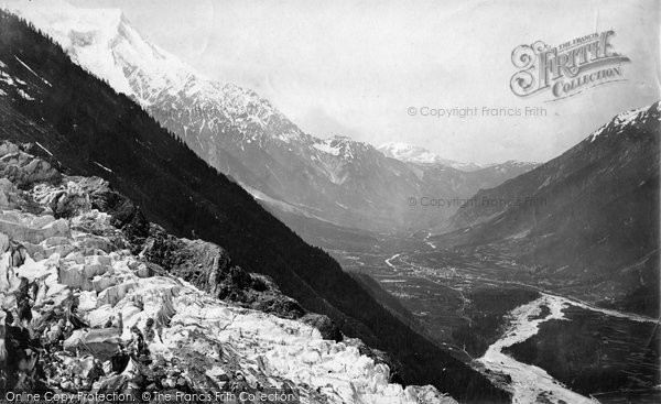 Photo of Chamonix, Valley, From Le Chapeau c.1874