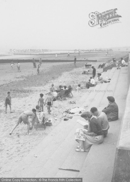 Photo of Chapel St Leonards, Beach, Reading The Paper c.1955