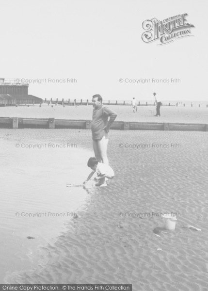 Photo of Chapel St Leonards, Father And Son On The Beach c.1960