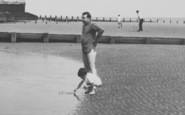 Chapel St Leonards, Father And Son On The Beach c.1960