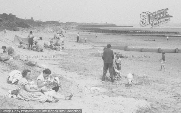 Photo of Chapel St Leonards, People On The Beach c.1955