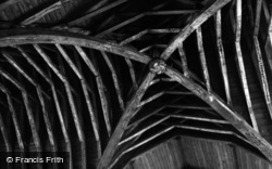 Chartham, Church, Roof Beams And Carved Boss 1954