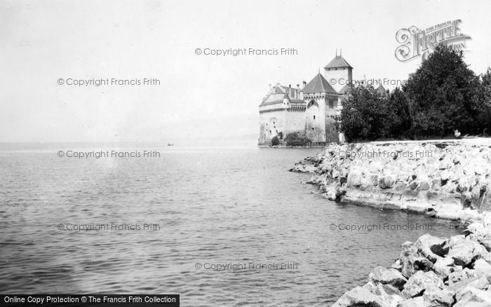 Photo of Chateau De Chillon, And The Lake c.1935