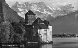 The Dents Du Midi And Lac Leman c.1935, Chateau De Chillon