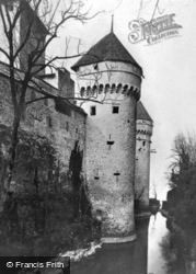 The Moat And The Towers Of The Xiii Century c.1935, Chateau De Chillon