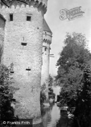 Towers And Moat c.1939, Chateau De Chillon