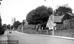 Chatham, Dock Road And St Mary's Church c.1955