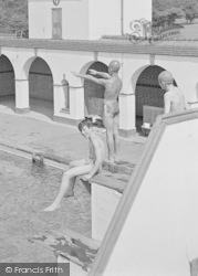 Chelwood Gate, The Camp Swimming Pool, On The Diving Board c.1950