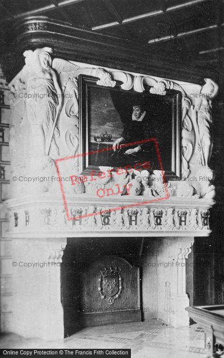 Photo of Chenonceaux, Chateau, Fireplace With Portrait Of Catherine De Médicis c.1930