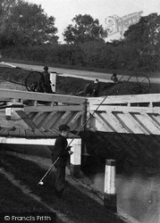 Chertsey, Fishing In The Lock 1890