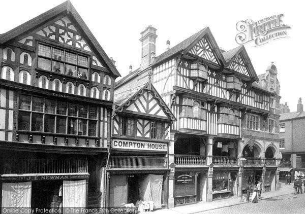 Photo of Chester, Bridge Street, Ye Olde Crypt And New Corner 1895
