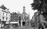 Chichester, the Market Cross from West Street c1955
