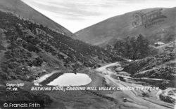 Church Stretton, Bathing Pool And Rustic Bridge, Carding Mill Valley c.1935