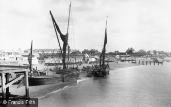 Clacton-on-Sea, Thames Barges on West Beach 1912