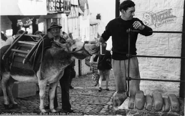 Photo of Clovelly, Donkey Stealing Beer c1960