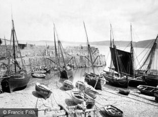Clovelly, Pier and Fishing Boats c1872