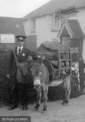 Clovelly, Postman And Donkey With The Mail 1936