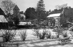 Coldwaltham, Cottage And Church Of St Giles In Winter c.1955