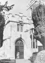 Colyton, The Church Porch And Sun Dial c.1955