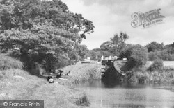 Congleton, Canal Lock And Boys Fishing c.1965
