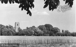 St Michael's Church And Windmill c.1955, Coningsby