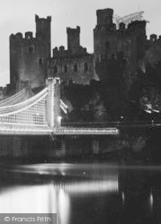 Conwy, Castle And Illuminated Bridge c.1936