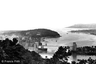 Conwy, Castle and the Tubular Steel Railway Bridge 1898