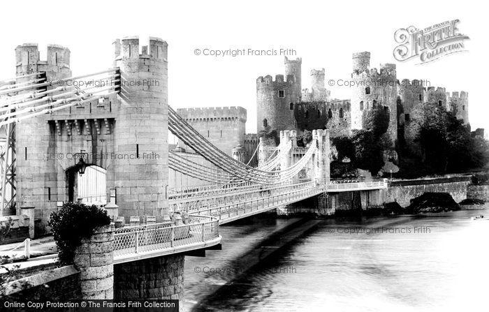 Conwy, The Castle And Suspension Bridge 1906
