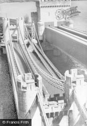 Conwy, The Suspension Bridge From Castle c.1939