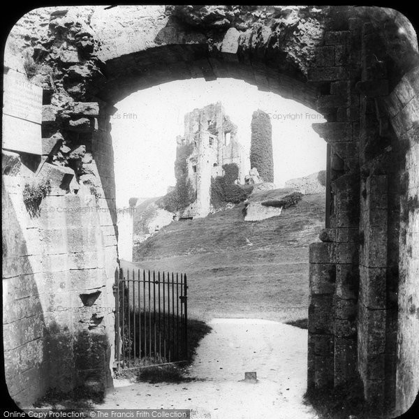 Photo of Corfe Castle, From Gateway 1890