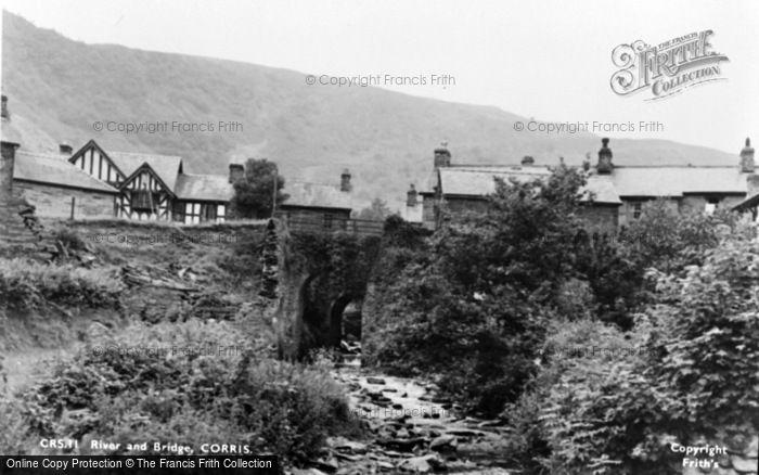 Photo of Corris, River And Bridge c.1955