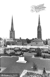 Coventry, Old Cathedral And Holy Trinity c.1955