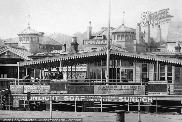 Photo of Cowes, Adverts On The Pontoon 1893