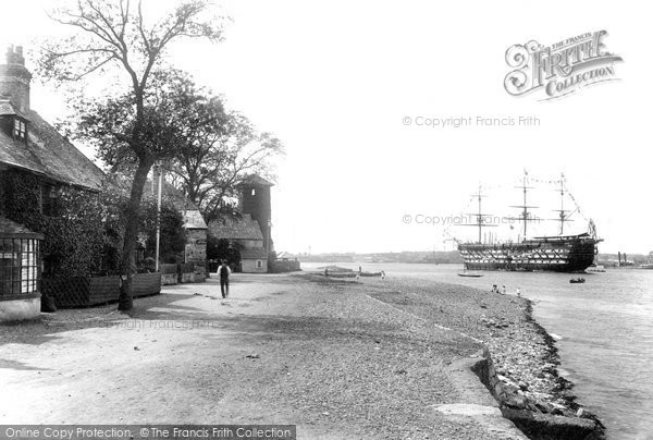 Photo of Cremyll, Point And HMS Impregnable 1904