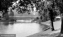 Queen's Park, The Lake And Bridge c.1950, Crewe