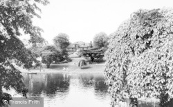 Crewe, The Lake And Pavilion, Queen's Park c.1960