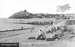 Criccieth, The Beach And Castle c.1955