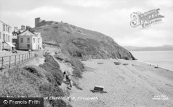 Criccieth, West Beach And Castle Hill c.1955
