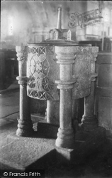 Cubert, Church, The Font c.1900