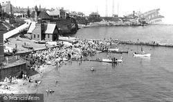 Cullercoats, The Beach Showing Ship Ashore c.1955