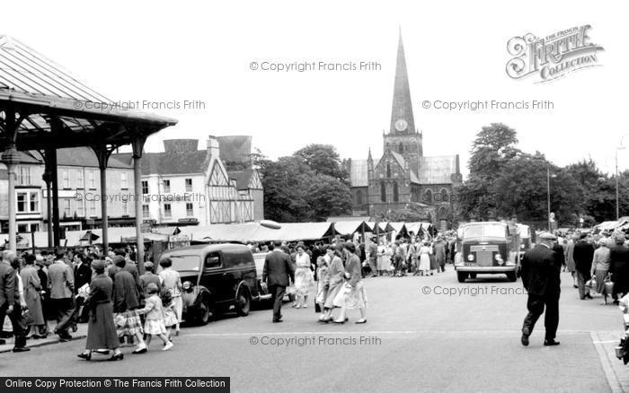Photo of Darlington, Market Place c.1955