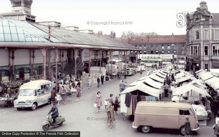 Photo of Darlington, Market Place c1965, ref. d2027t