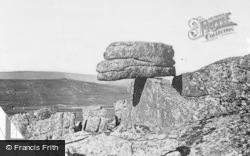 Dartmoor, The Logan Stone, Rippon Tor 1913