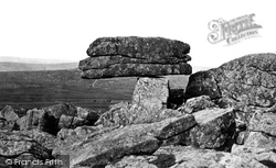 Dartmoor, The Logan Stone, Rippon Tor c.1869