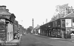 Darwen, Bolton Road And India Mill Chimney c.1955