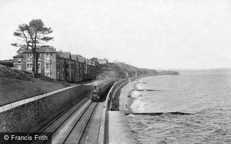 Dawlish, Bathing Beach and Railway 1906