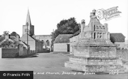 Deeping St James, The Cross And Church c.1955